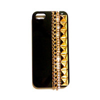 i phone 4 4S 4GS case Gold Studded cover chain rhinestone crystals black bling