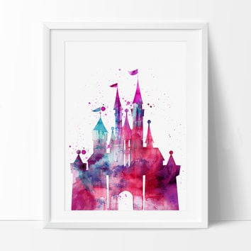Disney Castle Watercolor Print, Disney Art Print, Disney Castle Print , Watercolor Art Painting Disney Castle Art (24)