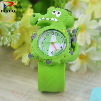 2017 Cartoon crocodile models children's toy rubber quartz watch Sport Fashion Casual Ladies Wristwatches Jelly Kids Clock PINBO