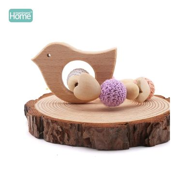 MamimamiHome Baby Wooden Toys Fox Hedgehog Elephant Bird Crochet Beads Toys For Children Teething Bracelet Baby Bracelet Rattle
