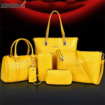 6 Piece/set Fashion Women' s Bags Handbag + Shoulder Bag + Tote + Wallet + Key Bag  set