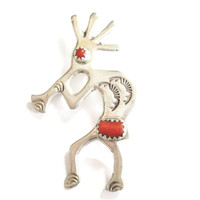 Coral Kokopelli Brooch Pin Sterling Fertility