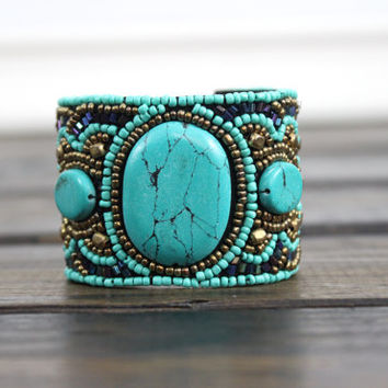 Bohemian Cuff, Beaded Bracelet, Fashion Accessories, Gypsy, Gifts for her, Bracelet, Tribal, Boho, Womens Accessories, Myfashioncreations