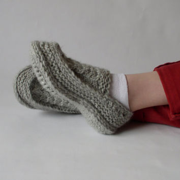 Knit Crochet Soft Wool Moccasin Slippers with Irish Traditional Cables Motifs