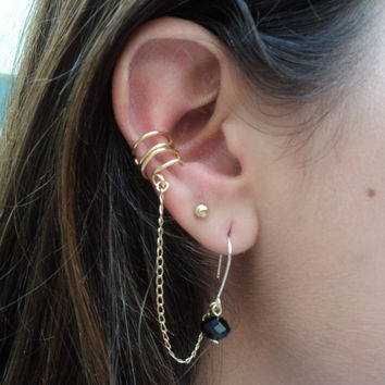 earrings with earcuff gold or silver / gold plated chain / crystal earrings with earcuff / simple earrings