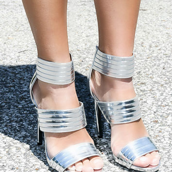 Big City Dreamin Shiny Silver 3 Strap Metallic Heels