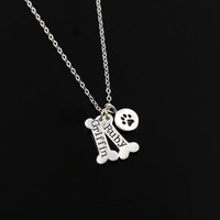 Pet Jewelry, Silver Dog Paw Necklace, Monogrammed Gift, Gold Dog Jewelry, Paw Print, Initial Charm, Memorial, Pet Loss Gift, Animal Memorial