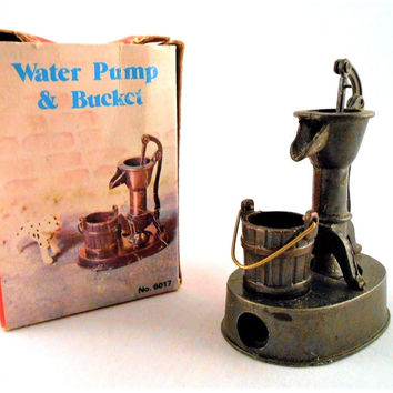 Old Fashioned Metal Brass Miniature Pencil Sharpener Water Pump & Bucket No 6017