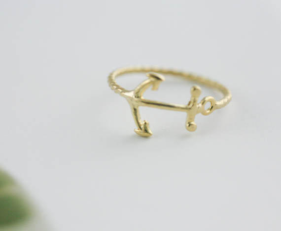 anchor ring in gold silver from applelatte on etsy jewelry