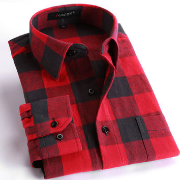 Men's Casual Plaid Shirts Long Sleeve Slim Fit Comfort Soft Brushed Flannel Cotton Shirt Leisure Styles Man Clothes