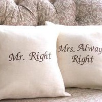 Mr and Mrs Pillow Set by YellowBugBoutique on Etsy