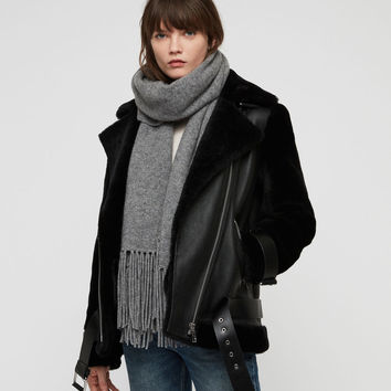 ALLSAINTS US: Womens Boiled Wool Scarf (grey_marl)