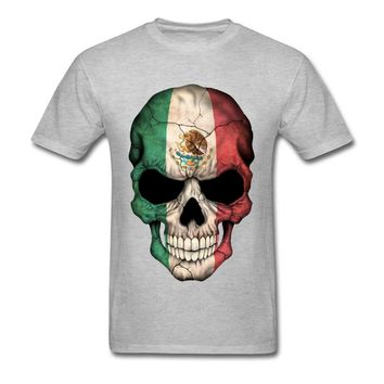 Big Size Mexican Flag Skull Tops T Shirt Mens Sugar Skull