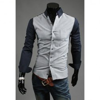 Color Block Shirt Collar Long Sleeves Shirt