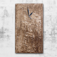 Brown WALL CLOCK, modern wall clock, art clock, brown office decor, art home decor