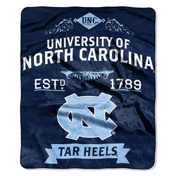 North Carolina Tar Heels NCAA Royal Plush Raschel Blanket (Label Series) (50x60)