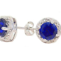 14Kt White Gold Blue Sapphire Round Diamond Stud Earrings