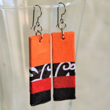 Orange Red Black Hanji Paper Dangle Earrings OOAK Striped Patchwork Bright Colors Paper Earrings Hypoallergenic Lightweight Colorful
