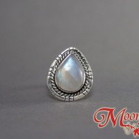 Rainbow Moonstone Teardrop Nouveau Sterling Silver Ring SS-022