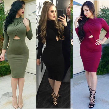 Women Winter Sexy Club Dress Plus Size 2016 Robe Ladies Party Dresses White Black Long Sleeve Bodycon Bandage Dress Clothing