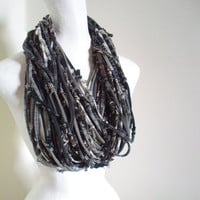 Steampunk Infinity Scarf Gray Black Brown Tribal Gypsy Chunky Upcycled Cowl Scarf Knotty Bits Art Scarf Winter Accessories Gifts Under 100