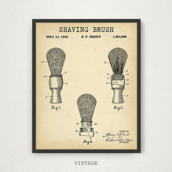 Shaving Brush Patent Print, Barber Shop Decor, Bathroom Decor, Barber Shaving Brush Art Print, Barber Gift, Barber Poster Download, 4 Colors