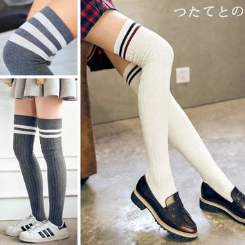 Cotton over knee socks South Korean students college school long tube thick thigh high stockings silk striped stockings female