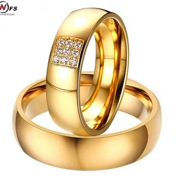 NFS 1pair 2pcs Simple Couple Rings For Women Men Elegant AAA CZ Stones Gold-color Lovers Ring Alliance Promise Engagement Band