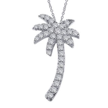 Lafonn Sterling Silver Palm Tree with Simulated Diamond Necklace