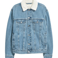 Pile-lined Denim Jacket - from H&M