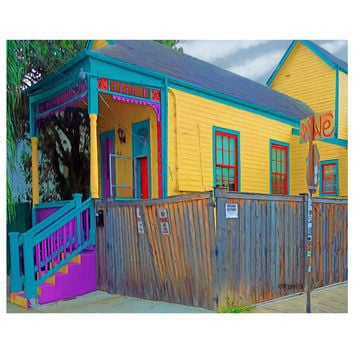 New Orleans Bywater Colorful Shotgun House Giclee Print 8x10 11x14 16x20 - Colorful Camelback - Korpita
