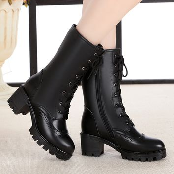 Lace-Up Vintage Combat Boots   Thick Heels Mid-Calf Snow Boots