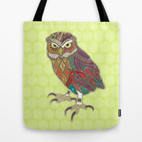 little brother owl chartreuse dot Tote Bag by Sharon Turner