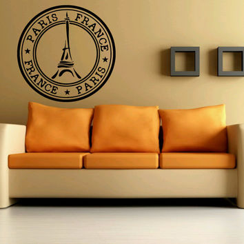 Wall Decal Vinyl Sticker Room Decor Decoration Paris City France Stamp 1363
