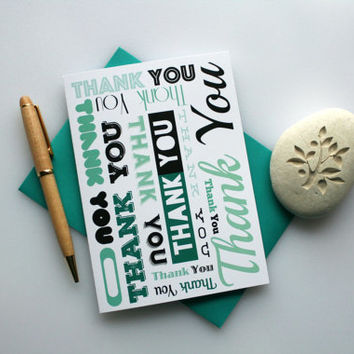 Green, Thank You Card, Thank You, Nice Thank You Card, Thank You Note, Simple Thank You Card, Thank You Greeting Card, Green Thank You