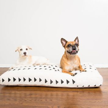White and Black Mudcloth Dog Bed // Large // Made To Order