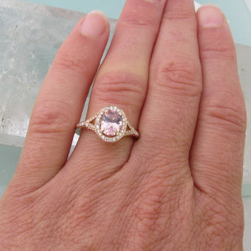 18k Rose Gold Split Shank Diamond Halo Engagement Ring Set with Pink/Peach Spinel Sapphire Alternative Gemstone Ring