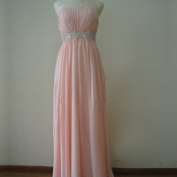 Elegant Pink A-line Strapless Neckline Sweep Train Prom Dress