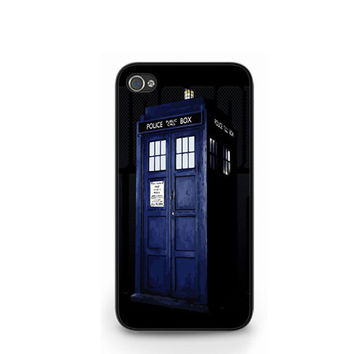 New Doctor Who Tardis Police Box Black iPhone 4 4S / iPhone 5 Hard Case Cover