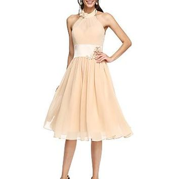 A-Line High Neck Knee Length Chiffon Bridesmaid Dress with Sash / Ribbon / Flower / Pleats by LAN TING BRIDE® / Beautiful Back