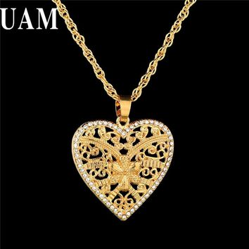 UAM New Classical Love Jewelry Gold Color Big Heart Pendant Necklace For Women Men Long Necklaces & Pendants Indian Accessories