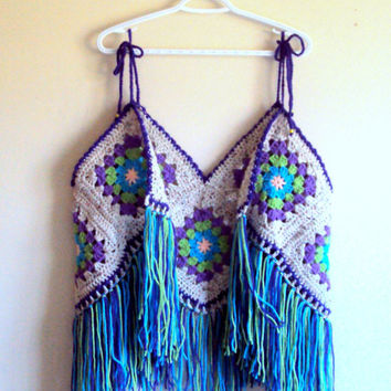 Festival Top Granny Square Vest Crochet Top Hippie Style Bohemian Top Fringe Top Women Summer Tops FREE SHIPMENT