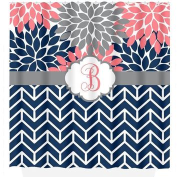 Coral Navy SHOWER CURTAIN, Flower Chevron, Girl Custom Personalized,  Floral MONOGRAM Bathroom Decor, Bath Towel, Plush Bath Mat