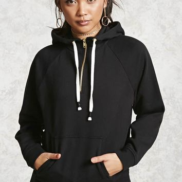 Fleece Zip-Up Drawstring Hoodie