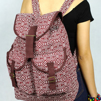 Thai ikat abstract tribal native  backpack /Ethnic rucksack /School Bag /holiday bag /Hippie bag / Boho/ Folk / Gypsy / tapestry bag