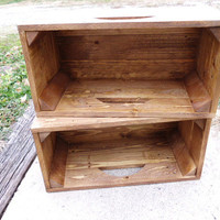 Reclaimed Wooden Storage Crates With Early American Finish Set of 2