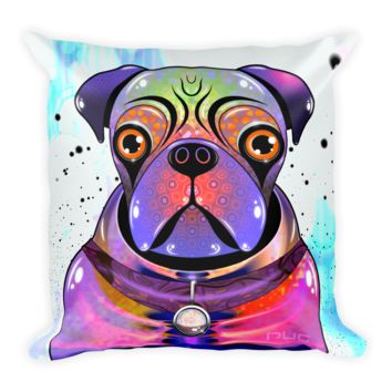 Galactic Pug Square Pillow by Fernando Palma