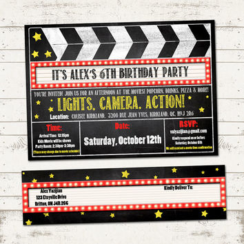 Movie Birthday Party Invitation with Wrap Around Address Labels - Movies, Clipboard, Marquee, Chalkboard - Custom, Printable Designs