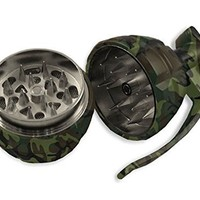1 X Manual Magnetic 3 Stages Spice Herb Pocket Grinder Pollen Screen Camo Hand Grenade with Pin Handle