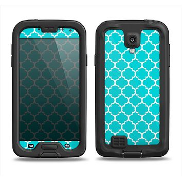 The Teal And White Seamless Morocan Pattern Samsung Galaxy S4 LifeProof Nuud Case Skin Set